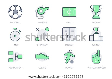 Football sport simple line icons. Vector illustration with minimal icon - soccer ball, scoreboard stopwatch, field, referee whistle, championship score, fan finger. Green Color, Editable Stroke