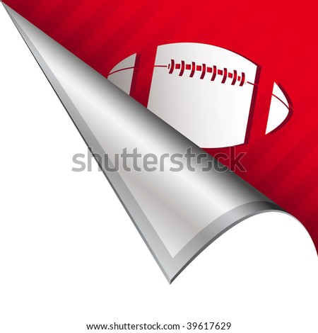 Football sports icon on vector peeled corner tab suitable for use in print, on websites, or in advertising materials.