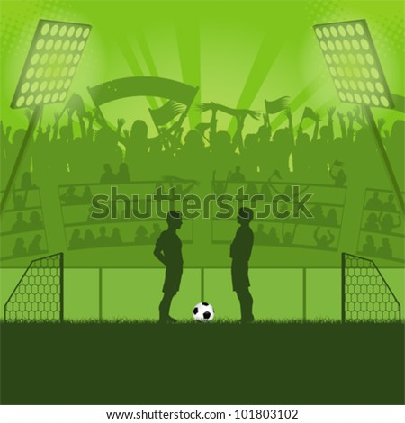 Football Stadium with Soccer Players and Fans, vector illustration