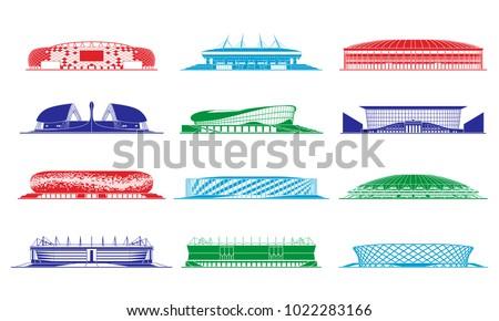 Football stadiums set.  Russia 2018