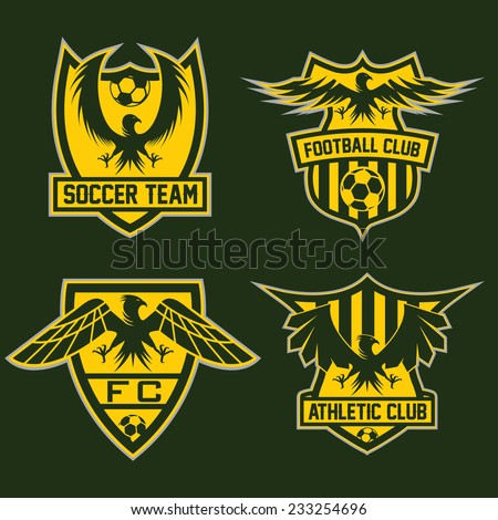 Football Team Crests Set With Eagles Vector Design Template Ez Canvas