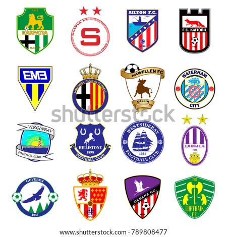 Football team logo. Set. Fictitious football league. 16 different emblems.
