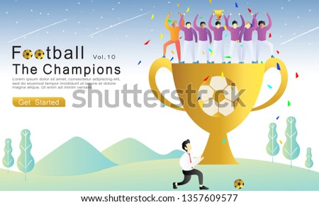 Football The Champions flat vector illustration concept. the team wins the championship, the coach and the player lift the gold cup. natural landscape background. for landing page, web, flyer, banner.