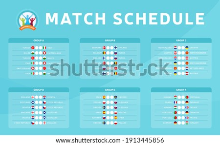Football 2020 tournament final stage groups vector stock illustration with matches schedule. Euro 2020 European soccer tournament table with background. Vector country flags