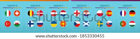 Football tournament flags sorted by group. Vector flag collection. Photo stock ©