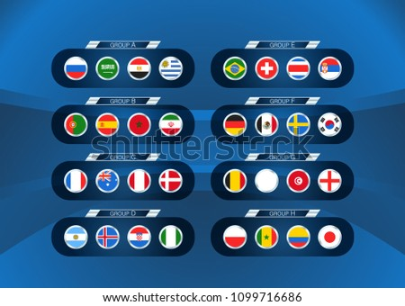 Football tournament scheme. Soccer infographic template with flags