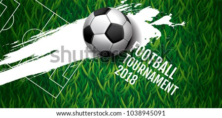 Football tournament, Soccer, cup, green field ,Design Background Template, Vector Illustration.