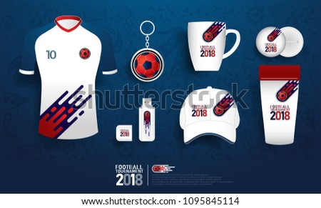 football tournament 2018 souvenir. soccer gift shop on pattern template
