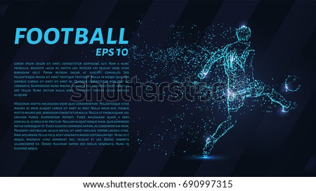 Football which consists of points. Particles in the form of a football player on dark background. Vector illustration. Graphic concept soccer.