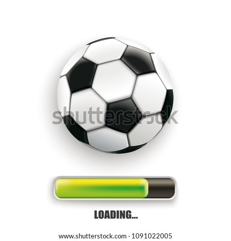 Football with progress loading bar on the white background. Eps 10 vector file.