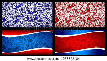 Football World championship background illustration. Set of four different pattern illustrations. 2018 soccer world tournament in Russia. World football cup. Wallpaper drawing.