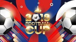 Football 2018 World Championship Cup Background Soccer With Modern Abstractions. Realistic Isolated Vector Ball.