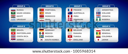 Football World championship groups. Vector country flags. 2018 soccer world tournament in Russia. World football cup. Nations flags info graphic.