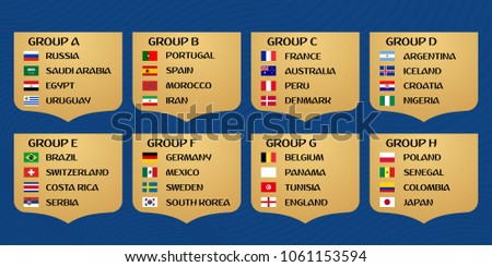 Football World cup Russia 2018 groups. Vector flag collection.