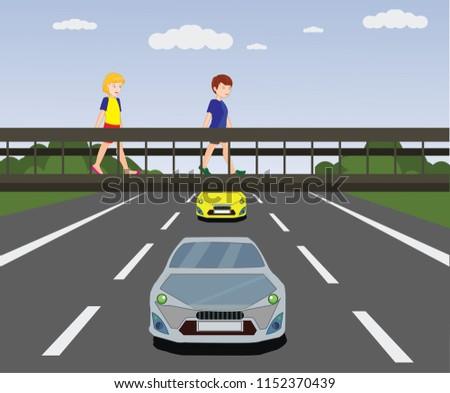 footbridge, overpass, children using pedestrian crossing