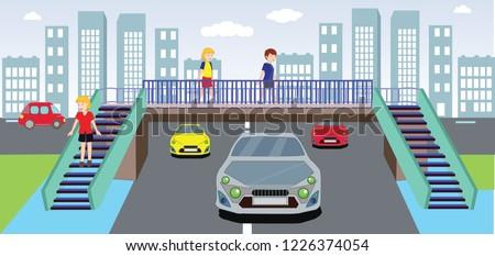 footbridge, overpass, children using pedestrian crossing. underpass. traffic education. traffic rules for children. Traffic signs. teacher and children traffic training