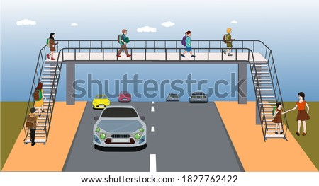 footbridge, overpass, children using pedestrian crossing. underpass. traffic education. traffic rules for children. Traffic signs. bridge.  pedestrian bridge