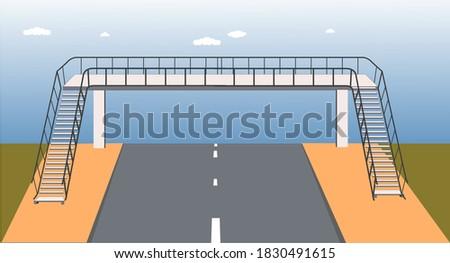 footbridge, overpass, children using pedestrian crossing. underpass. traffic education. traffic rules for children. Traffic signs. bridge