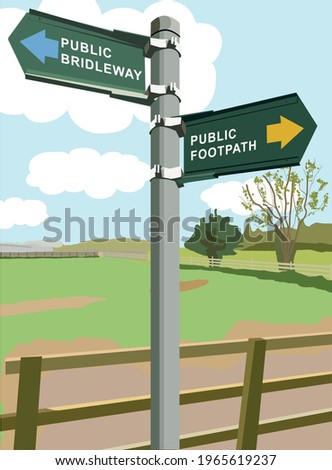 Footpath and bridleway signpost with countryside background Stock photo ©