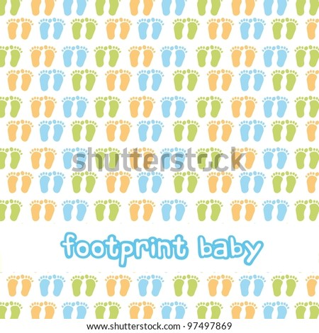 footprint baby background, boy. vector illustration