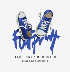 footprint calligraphy slogan with blue sneaker vector illustration