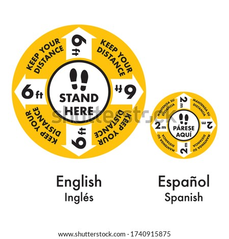 Footprint, floor graphic, social distance, floor sticker, keep distance, stand here, floor marking, steps on the floor, order in line, wait here, protection against coronavirus covid19, spanish