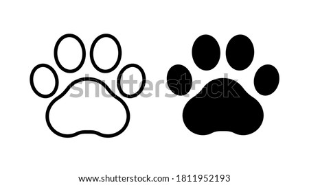 Footprint pet. Paw prints. Dog or cat vector, icon. Foot puppy isolated on white background. Black silhouette paw. Cute shape paw print. Walks for design. Animal track. Trace foot dog, cat. Vector