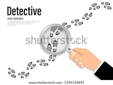 Footprints investigating. Hand holding magnifying glass above footprint flat illustration. Detective is investigating