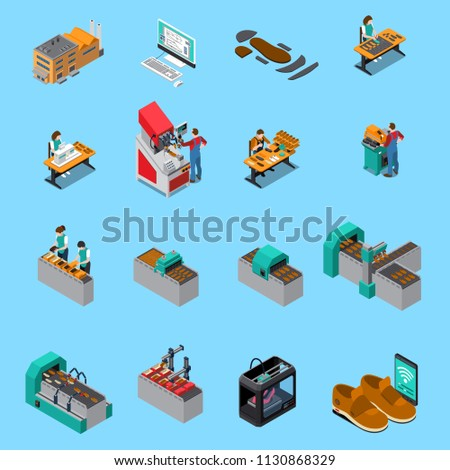 Footwear Factory Isometric Icons Set