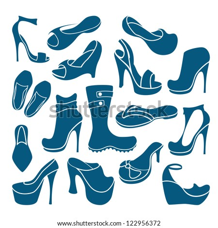 Footwear graphical icons collection #122956372