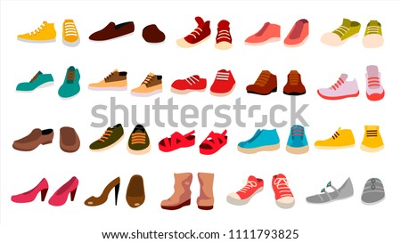 Footwear Set Vector. Fashionable Shoes. Boots. For Man And Woman. Web Icon. Flat Cartoon Isolated Illustration ストックフォト ©