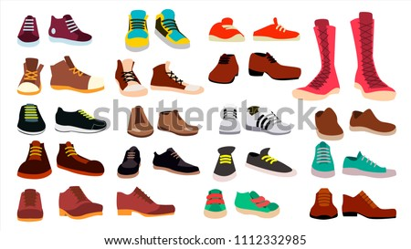 Footwear Set Vector. Stylish Shoes. For Man And Woman. Sandals. Different Seasons. Design Element. Flat Cartoon Isolated Illustration  ストックフォト ©