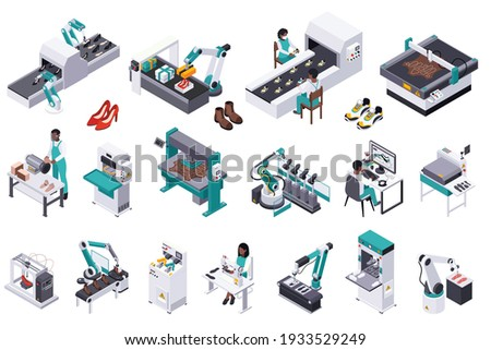 Footwear shoes production isometric composition with isolated icons of plant facilities with workers and ready products vector illustration Foto d'archivio ©