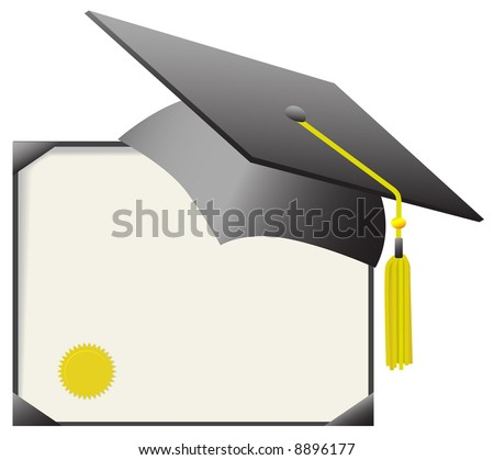 For cap & gown day: gray mortar board graduation cap & gold tassle, with gold diploma certificate.