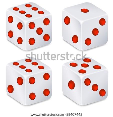 For dices for dribbling, vector illustration, casino gambling
