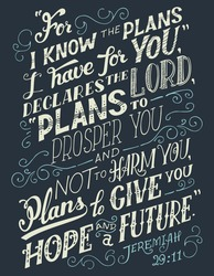For i know the plans i have for you, declares the lord plans to prosper you and not to harm you, plans to give you hope and a future. Bible quote, Jeremiah 29:11. Hand-lettering, home decor sign
