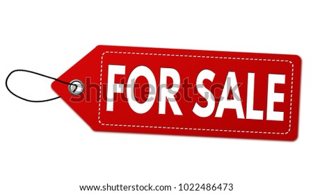 For sale label or price tag on white background, vector illustration