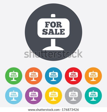 For sale sign icon. Real estate selling. Round colourful 11 buttons. Vector