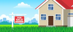 for sale sign on lawn grass in front of  house real estate investment concept