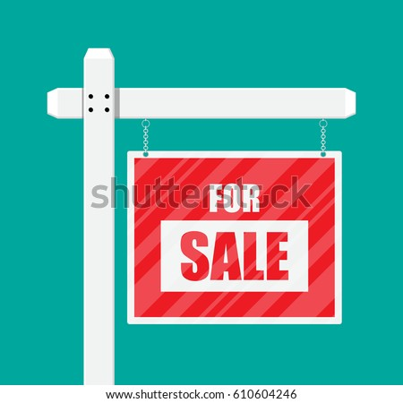 For sale wooden placard. Real estate sign. Buy or rent house. Vector illustration in flat style
