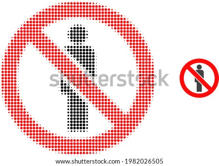 Forbidden man halftone dotted icon illustration. Halftone array contains circle dots. Vector illustration of forbidden man icon on a white background. Flat abstraction for forbidden man symbol. Stock photo ©