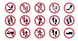 Forbidden no open footwear slippers, sandals, shoes, barefoot icon Walking standing footprint sign Feet, heel or foot attention Stop halt allowed prohibited Do not enter or run danger cross No bikini