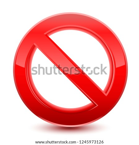 Forbidden red sign, isolated on  white background. Vector Illustration.