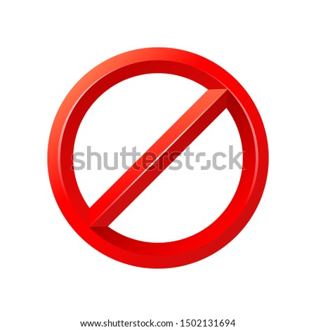 Forbidden sign empty template - crosser out red prohibition caution circle in 3D embossed decoration - isolated vector element Foto stock ©