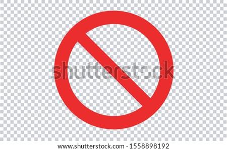 Forbidden Sign - Transparent Background. Vector illustration. Foto d'archivio ©