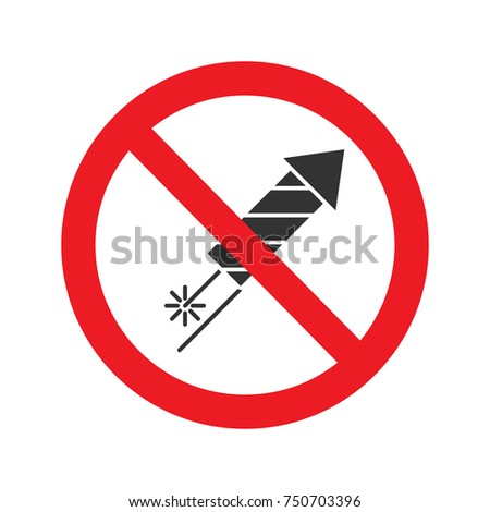 Forbidden sign with firework rocket glyph icon. No pyrotechnics prohibition. Stop silhouette symbol. Negative space. Vector isolated illustration