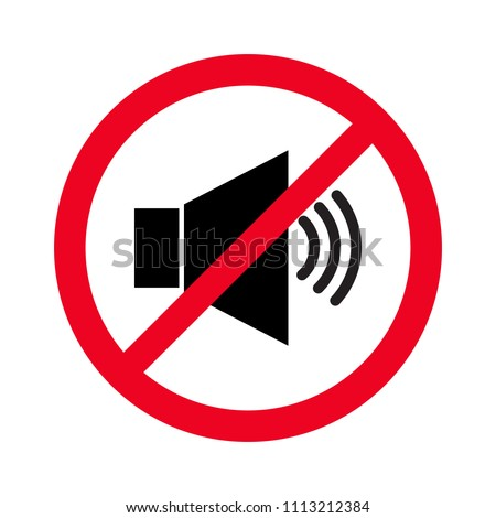 Forbidden sign with loudspeaker glyph vector flat icon. Indicating signal to noise ban. Speaker with prohibition sign. Silence, mute. illustration Сток-фото ©