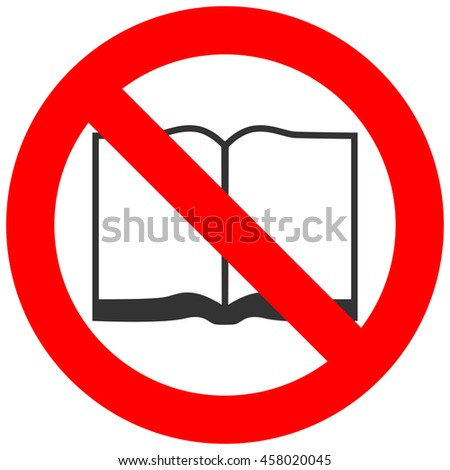 forbidden sign with open book