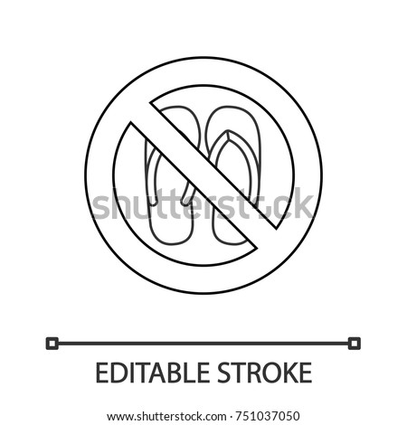 d69732e5546c21 Forbidden sign with slippers linear icon. Thin line illustration. No sandals
