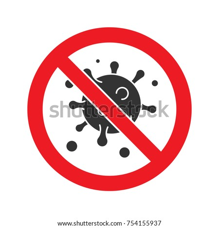 Forbidden sign with virus particle glyph icon. Stop silhouette symbol. Antiviral immunity. Negative space. Vector isolated illustration
